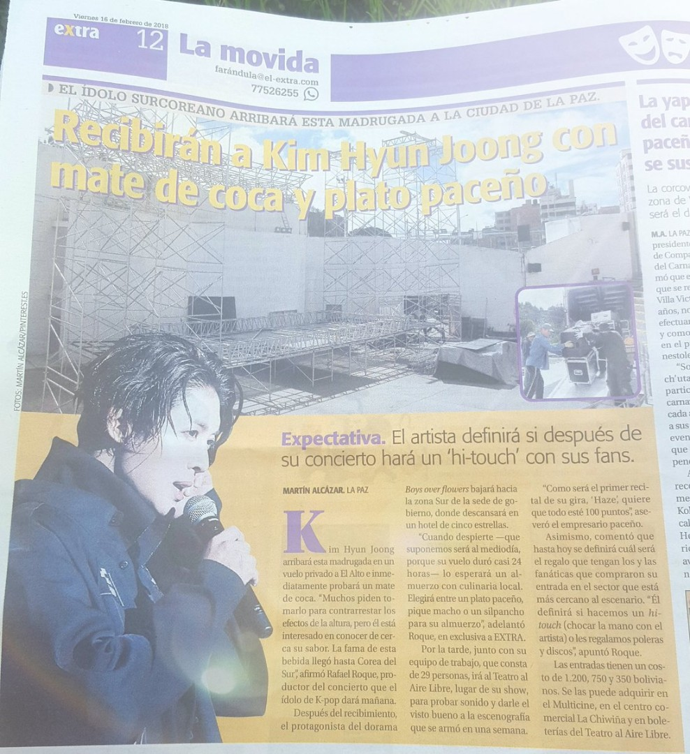 The Extra newspaper tells the fans all the details prior to the concert