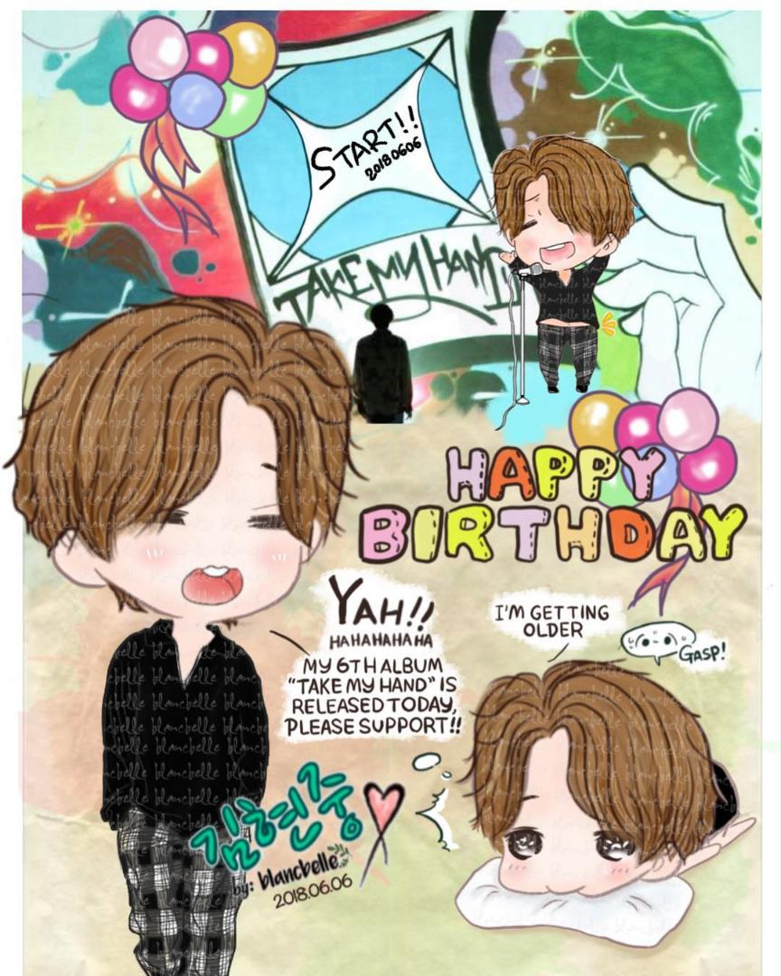 "[Blancbelle Fanart] Happy Birthday to my dear Hyun Joong and many many Congratulations on the release of your 6th album ""Take My Hand"" [2018.06.05]"