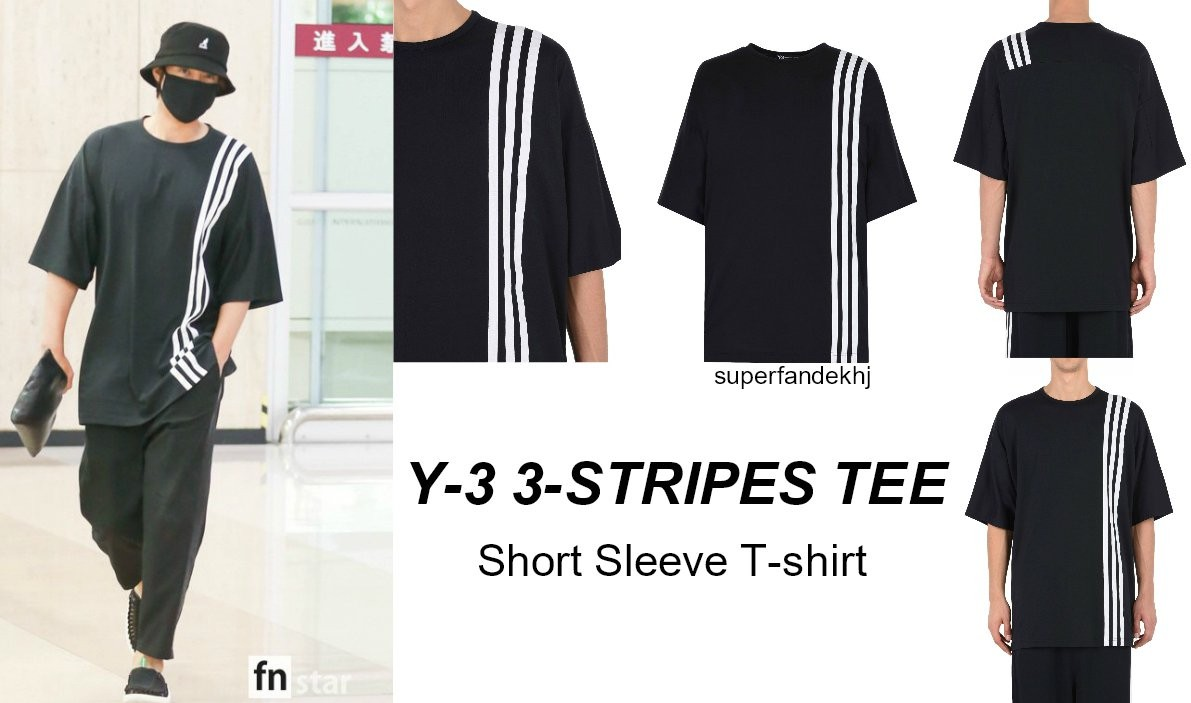 [Sponsor] Kim Hyun Joong T-shirt at Gimpo Airport is Y-3 3-STRIPES TEE [2018.06.13]