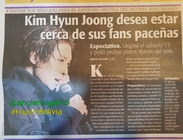 The newspaper presents in its edition of today an exclusive note on the preparations for meeting of kim hyun joong in Bolivia