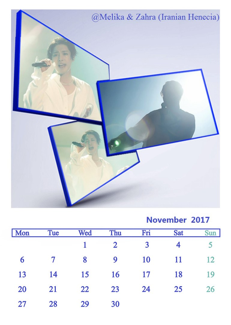 Calendar of November 2017 - Fanart by Melika and Zahra