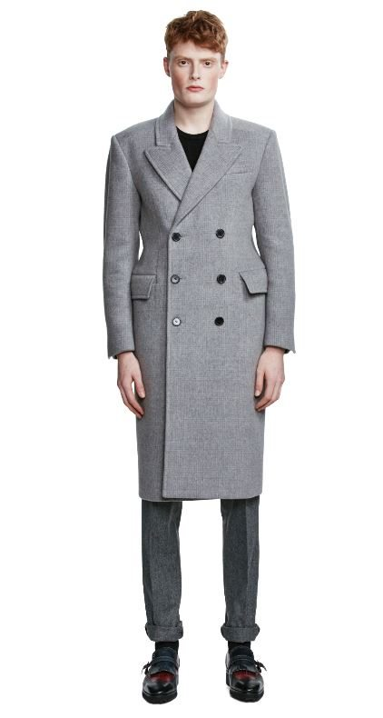 (Tat Collection Gray Check Double-Breasted Coat (3