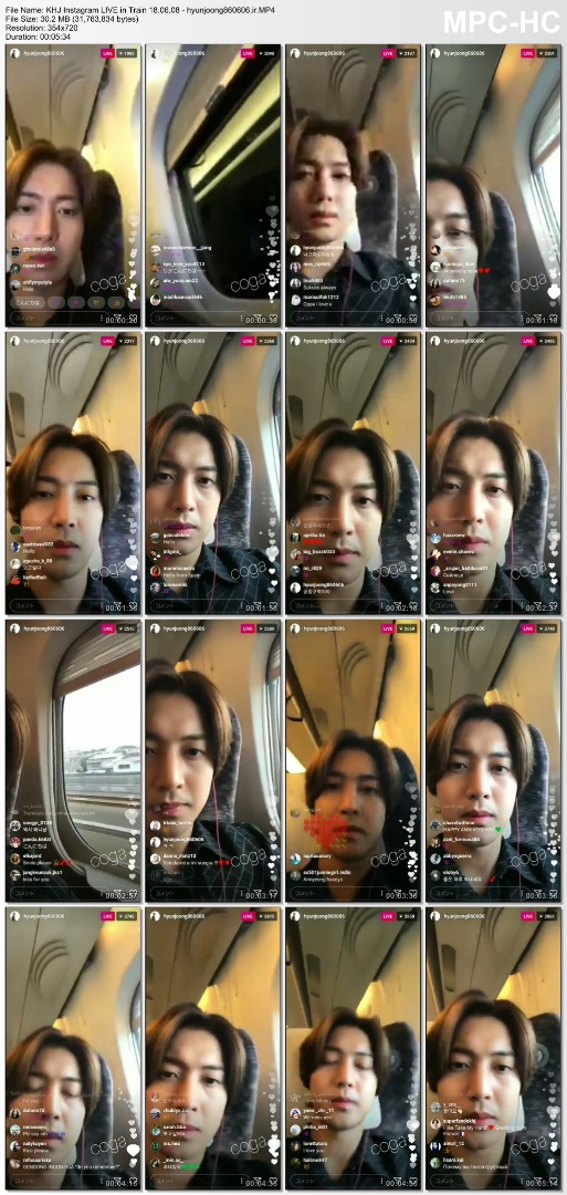 KHJ Instagram LIVE in Train 18.06.08 - hyunjoong860606.ir