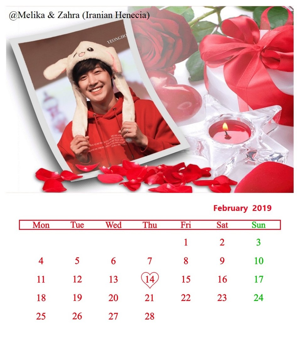 Calendar of February 2019 - Fanart by Melika and Zahra